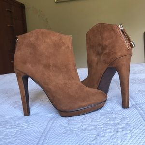 Chestnut Suede Heeled Ankle Boots